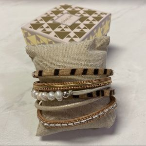 Saachi multi strand leopard pearl bracelet new